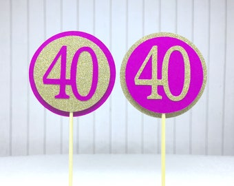 """40th Birthday Cupcake Toppers - Gold Glitter & Hot Pink """"40"""" - Set of 12 - Elegant Cake Cupcake Age Topper Picks Party Decorations"""