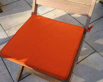 Set of 2 removable orange cotton Chair cushions