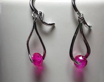 Earrings wave fuchsia Crystal