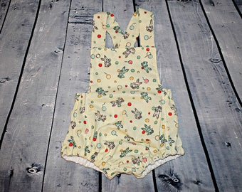 Bunny & Balloon Bubble Baby Romper/Jumper- 1930's vintage print fabric