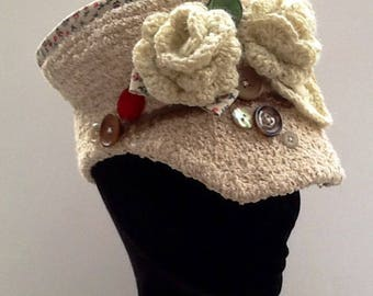 Cap crochet shabby chic beige Liberty