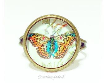 Adjustable ring - Butterfly Cabochon Orange and yellow