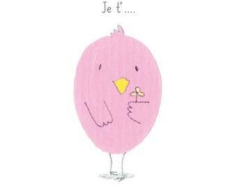 Post card, humor, bird, love, love, flowers