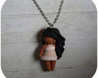 "Necklace Princess pocahontas ""hair black, beige dress"" (Princess collection)"