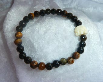 Genuine Tiger's eye and Obsidian gemstone bracelet
