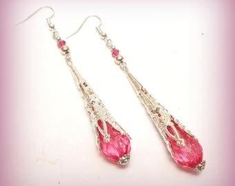 """Long """"Light pink"""" Teardrop Earrings"""