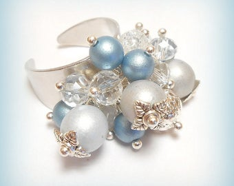 """Ring charms pearls """"Piece of blue sky"""""""
