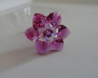 Hot pink water lily ring Swarovski Crystal beads
