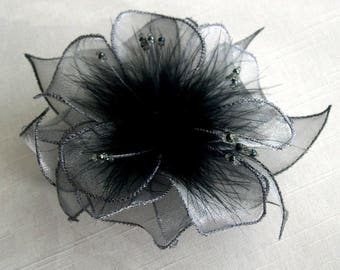 Large grey organza flower barrette, feathers and beads