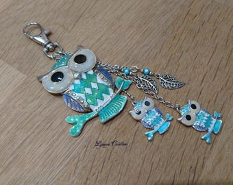 Bag charm or silver plated Keyring, owl, turquoise glass beads