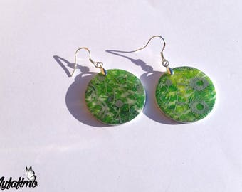 Round earrings, green and Blue Lagoon polymer clay