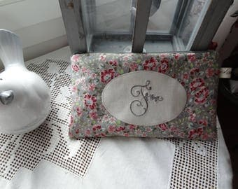 Flat clutch with embroidered Monogram F as Françoise Liberty
