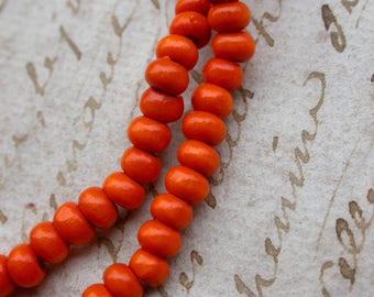 set of 30 wooden beads orange 5mmenviron 3y