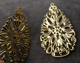 set of 2 filigree Teardrop goldtone 6.7 cm
