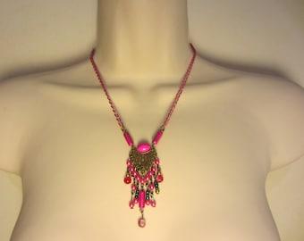 Necklace fuchsia and bronze