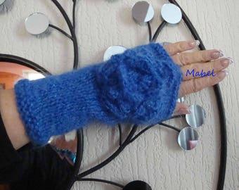 Fingerless gloves blue knit, crochet flower, mohair wool and lurex