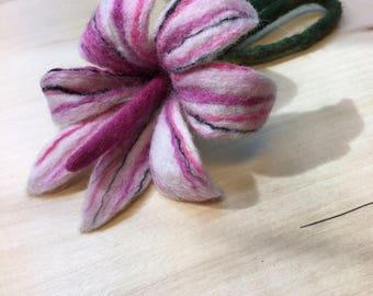 Pink Felt Wool Brooch Exclusive Hand Made
