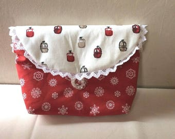 Makeup red and white snowflakes - multipurpose pouch