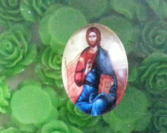 1 cabochon the Virgin and Jesus printed oval glass cabochons, mixed color, 25 x 18 x 6 mm