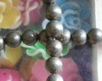 10 6mm pyrite stone beads, hole 1 mm