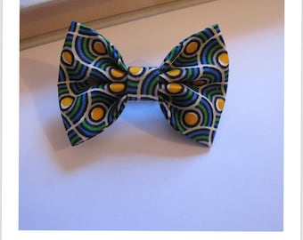 "hair bow ""clip - me"" green blue and yellow"