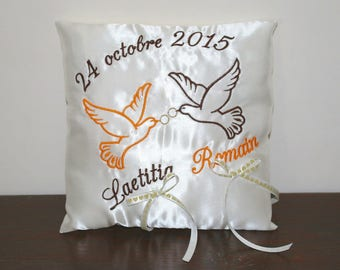 Wedding pillow ring bearer embroidered doves and personalized