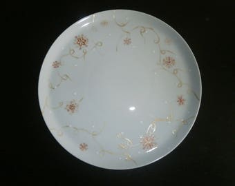 porcelain plate hand painted snowflake pattern Tan moiré gold and white 27cm