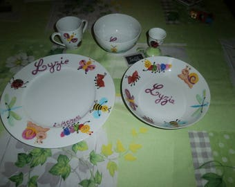 Service 5 pieces porcelain painted personalized silly little multicolored pattern