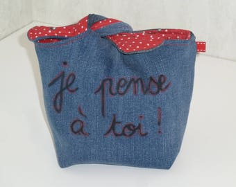 """Pouch tied recycled denim, """"I think of you"""", inside cotton red pattern black cherries"""