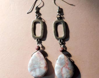 Jasper stone drop earrings