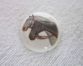 Antique Painting on Porcelain Two Horses for Brooch Setting