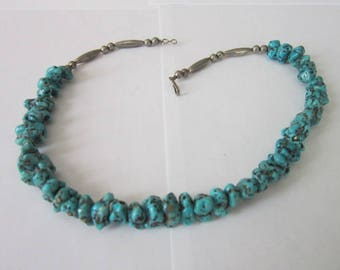 Native American Sterling Silver & Real Turquoise Stones Necklace