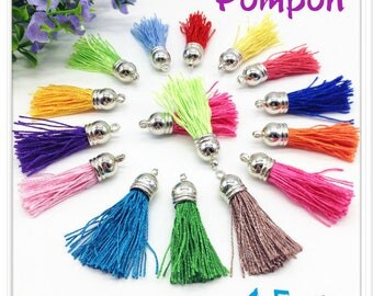 Silk thread tassel pendant individually blue electric silver 4.5 cm