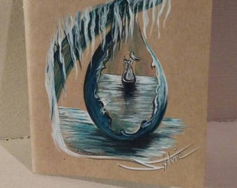 """Notebook personalized and painted, unique """"dew"""" piece."""