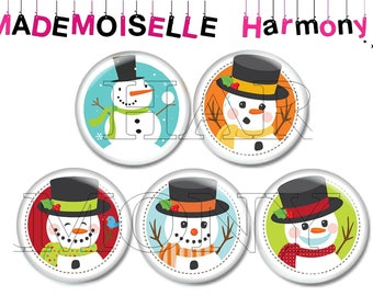 5 glass cabochons 20 mm snowman with snow Christmas size 20 mm cabochons