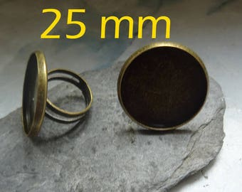Bronze 1 to support glass cabochon Adjustable ring 25 mm
