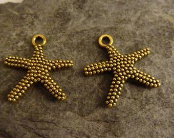 was 2 Starfish charm 1 cm marine Navy