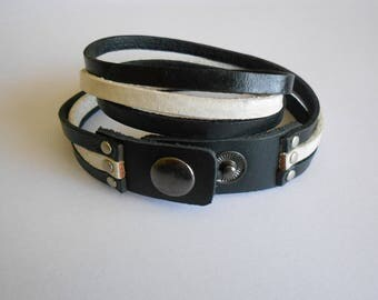 double black and White Leather snap bracelet