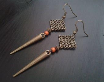 Bronze print Rhombus, orange and bronze spike bead earrings