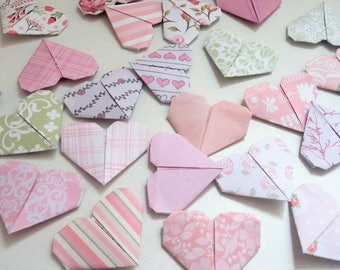 Set of origami in shades of Pink Hearts