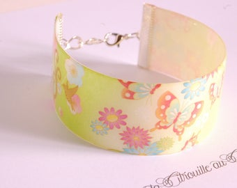 Apple green Japanese floral Cuff Bracelet