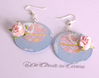 Japanese motif, blue and pink earrings