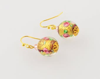 Indian bead and crystal earrings