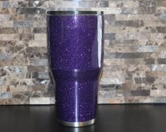 Purple Glitter Dipped Ozark Tumbler, Free Personalization