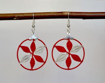 Spirit red and Silver Rosette earrings