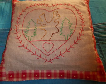 handmade with deer head embroidered Cushion cover.