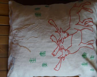 THE deer red hand embroidered pillow cover