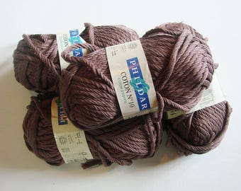 Cotton knit or crochet - set of 4 skeins - Brown