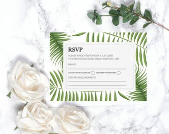 Botanical RSVP Card – Personalised – A6