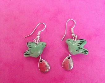 Green porcelain bird and drop earrings silver